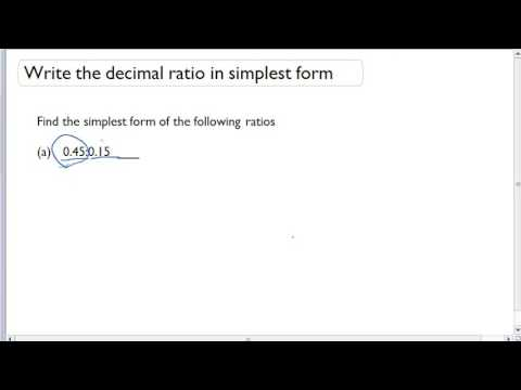 Write the decimal ratio in simplest form - YouTube