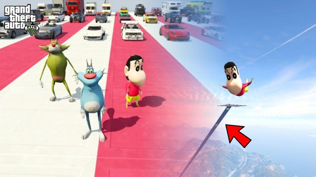 GTA 5 : OGGY , JACK & SHINCHAN DOING SUPER CAR STUNT & SKY DIVING #10