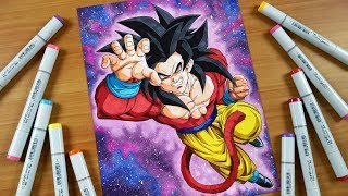 Drawing Goku SSJ4 with Galaxy Background (I Spent a WEEK on this) - Dragonball GT