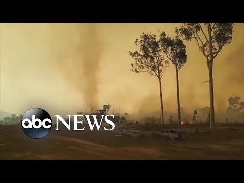 See Fire Tornado Spins in Bushfire!   (ABC News)