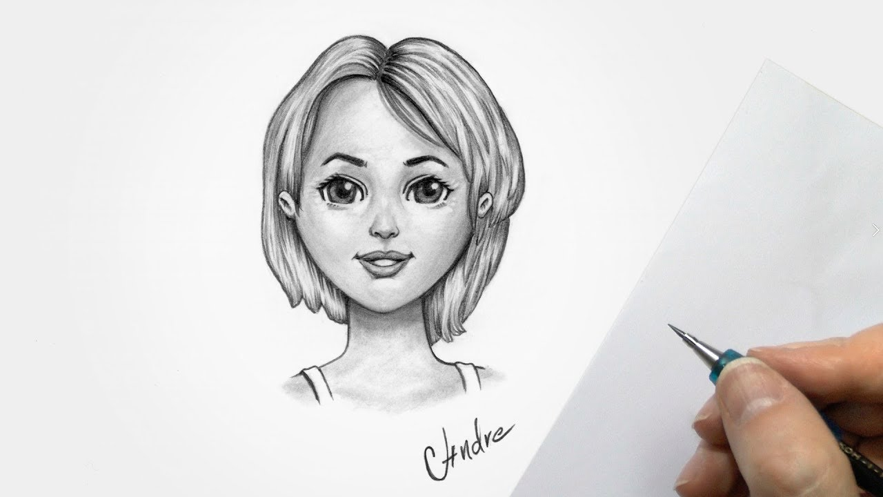 How To Draw A Cute Girl Cartoon With Pencils Youtube