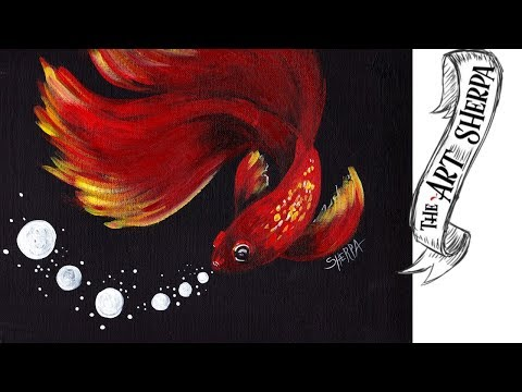 Easy Red Betta Fish Acrylic Painting Best Tutorial For Beginners 🐟🐡 | TheArtSherpa