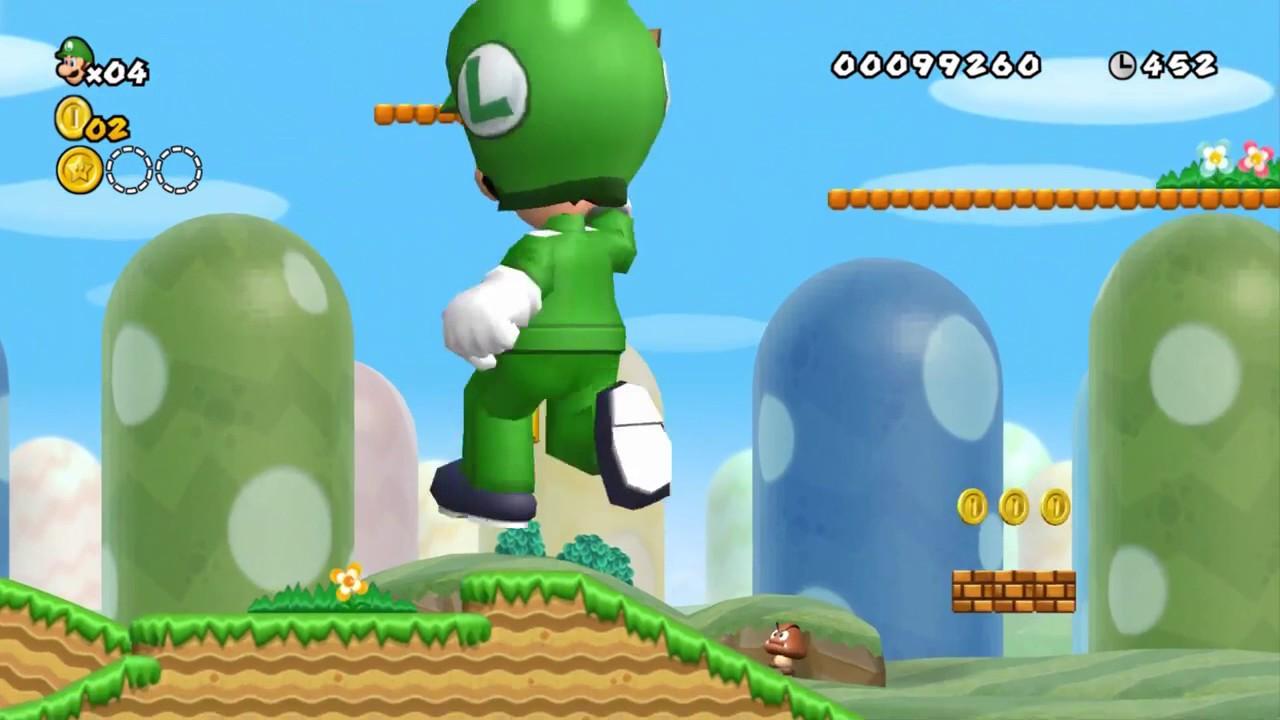 New Super Mario Bros Wii All Giant Luigi Power Ups Youtube