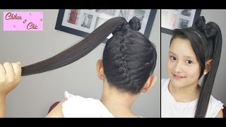 Diagonal Braid into a Ponytail Bow! | Braided Hairstyles | Hair Bow | Cute Girly Hairstyles