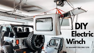 DIY Jeep Wrangler Hardtop Hoist   $78 Walmart Electric Winch