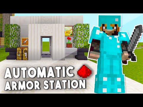 AUTO ARMOR DISPENSER IN MCPE [ Redstone Tutorial ] - Minecraft PE (Pocket Edition)