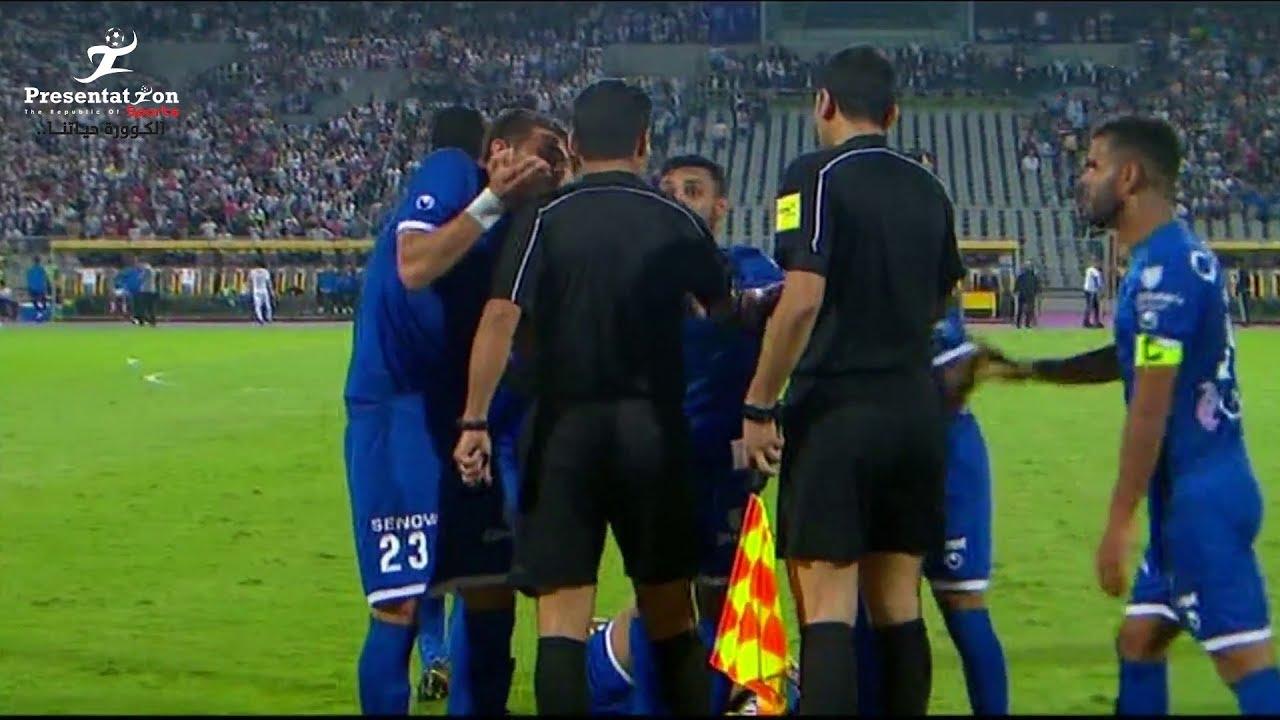 لحظة طرد حسام حسن لاعب سموحة في مباراة الزمالك