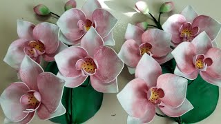 нежная орхидея из фоамирана. Орхидея МК. How to make Foam Flower orchid , DIY, Tutorial Foam