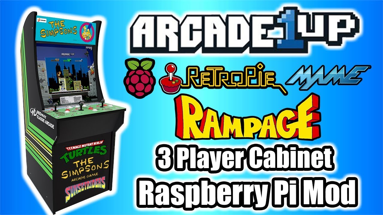 Arcade1up Rampage 3 Player Cabinet Raspberry Pi Mod