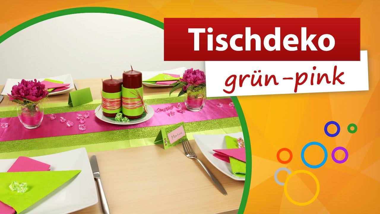 Tischdeko Grun Pink Tischdekoration Trendmarkt24 Youtube