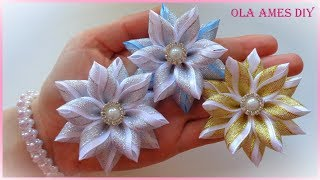Цветы из узкой ленты/ Канзаши/ Hair Flower Tutorial/DIY Ribbon Flowers/ Flores de fitas/Ola ameS DIY