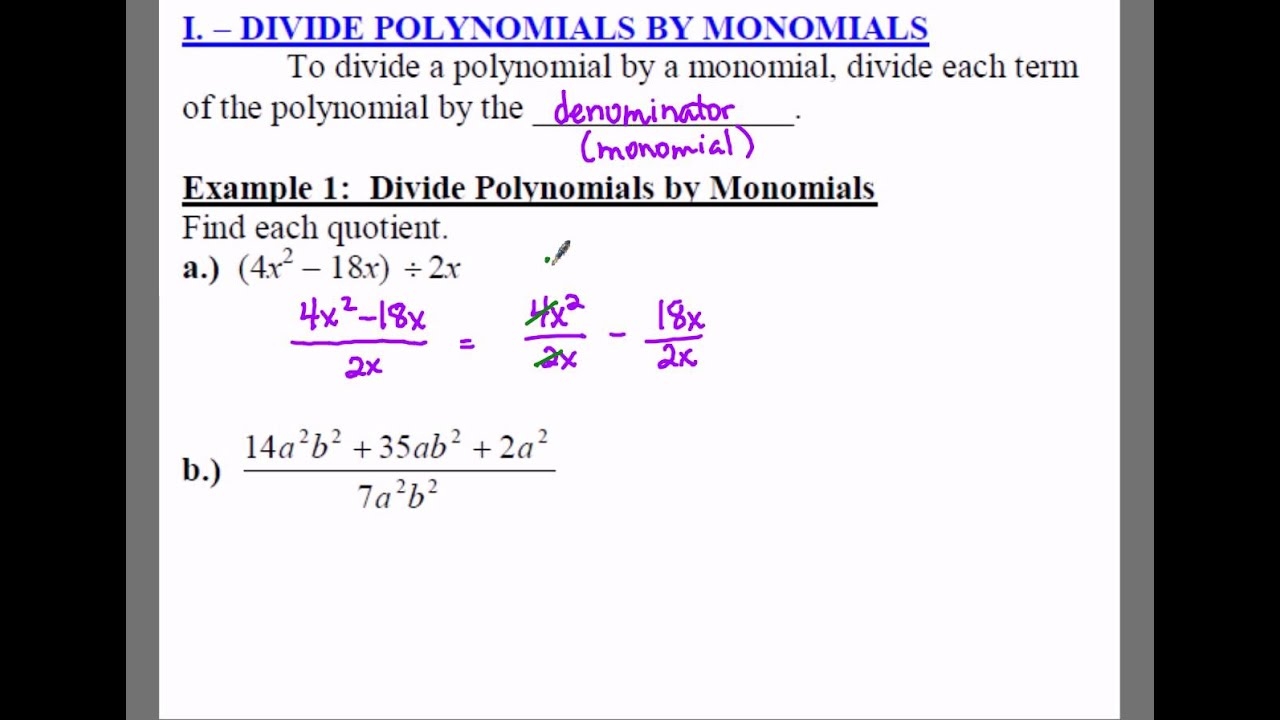 Algebra 1: 11.5 Notes: Example 1 - Dividing a Polynomial by a ...