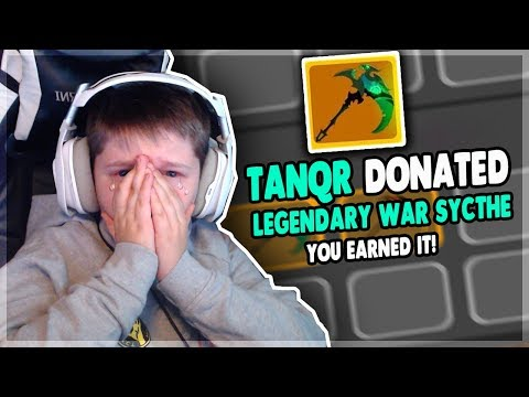 DONATING LEGENDARY ITEMS TO STREAMERS IF THEY WIN *he actually cried* | Roblox: Dungeon Quest