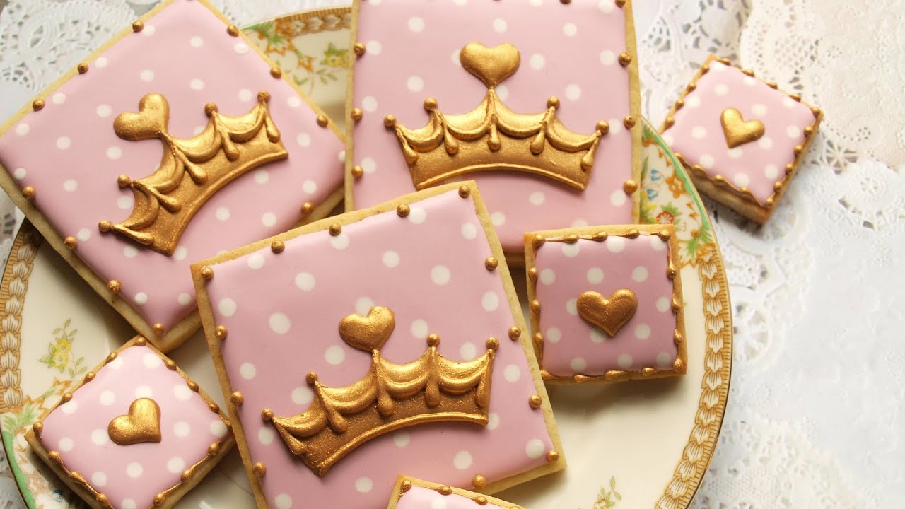 Pink and Gold Crown Cookies Royal Baby Shower Collab