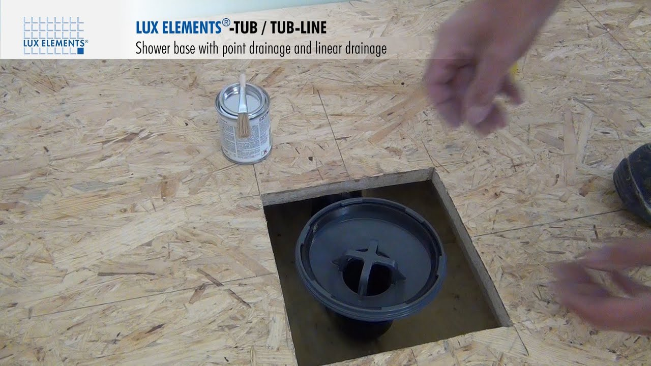 lux elements installation vertical shower base drain