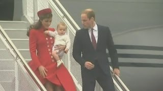 Prince William, Kate and Prince George arrive for New Zealand tour