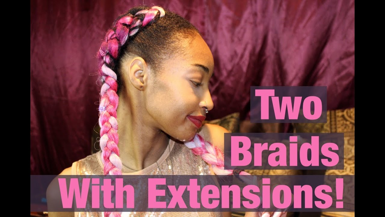 Two Cornrows On Natural Hair With Extensions Beginner Friendly