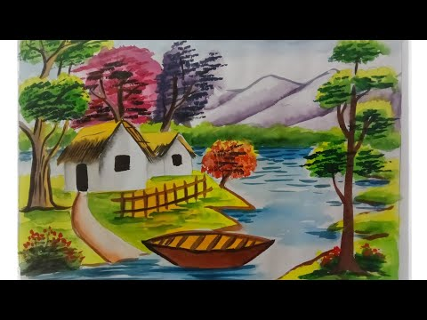 Beautiful Watercolor Landscape Painting For Beginners | Village Scenery Drawing