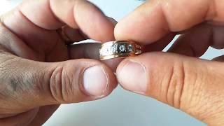 Обзор кольцо СССР золото с якутскими бриллиантами 1 сенября 2017г.