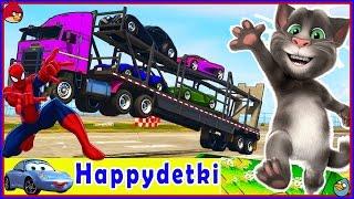 Человек паук катает цветные машинки на грузовике, учимся считать