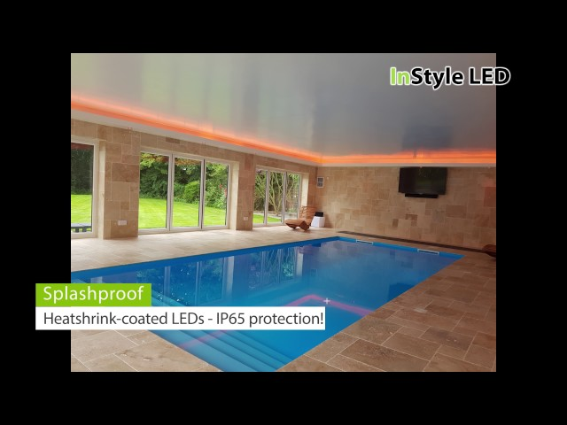 Pool-house lit by RGBW LED strips & downlights