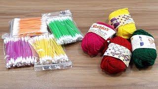Cotton buds & woolen craft idea | Best craft idea | DIY arts and crafts | DIY cotton buds