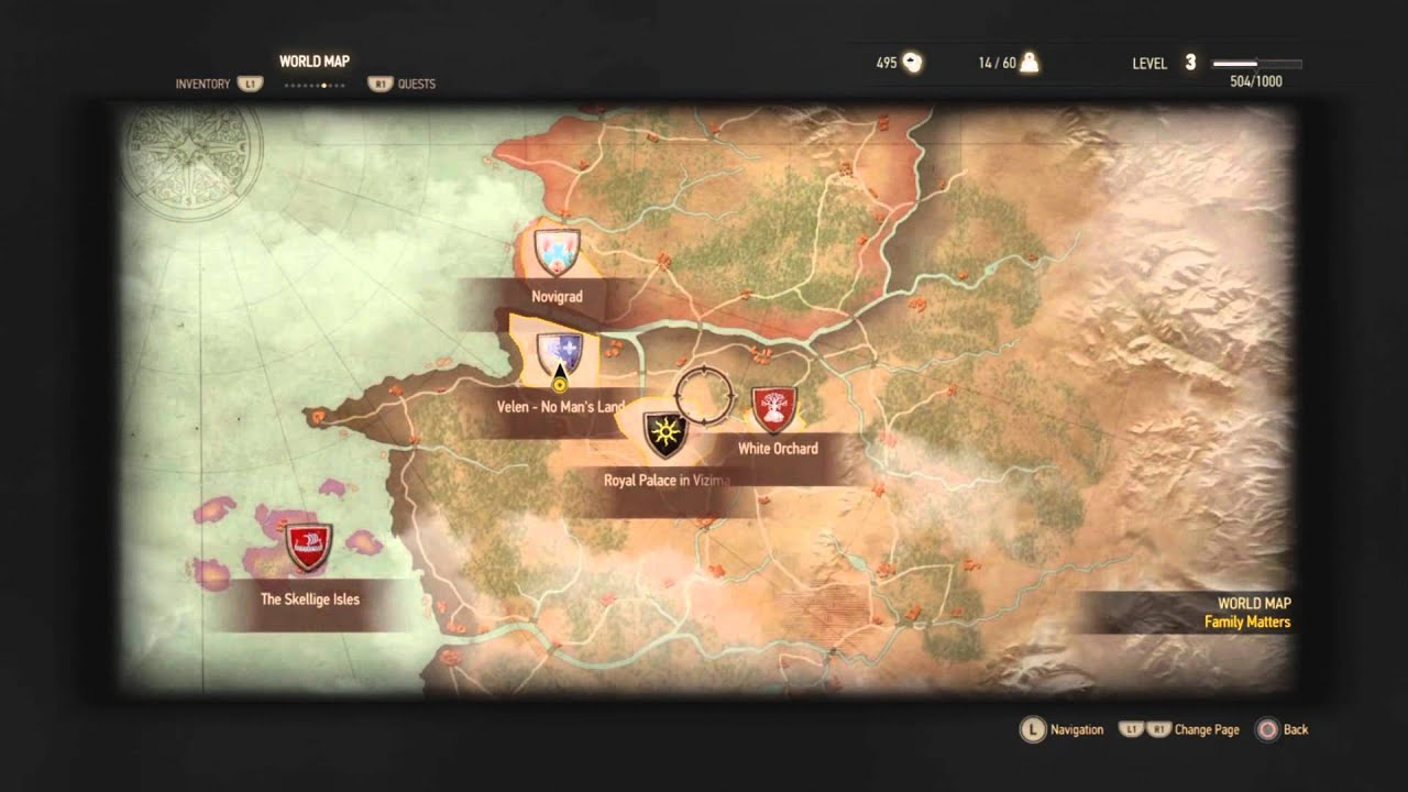 Witcher 3 Wild Hunt - MAP / All Locations - YouTube