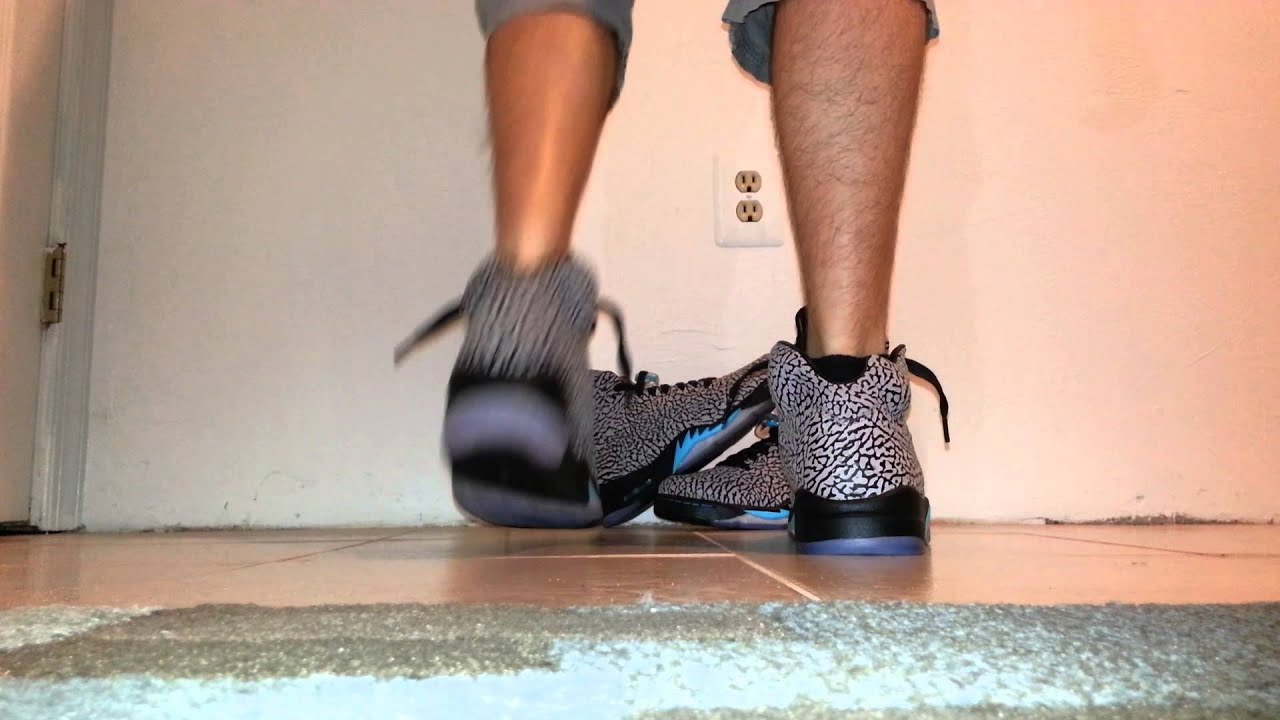 9cd840f76d3 Jordan 5 elephant 3LAB5 early on foot sole-up - YouTube