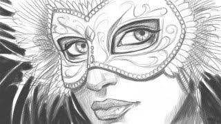 How to Draw a Face with a Mardi Gras Mask (Part 1 of 2)