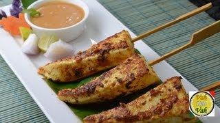 Paneer Satay With Peanut Sauce - By Vahchef @ Vahrehvah.com