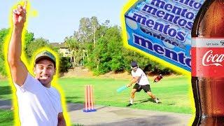 Playing Cricket with COCA COLA vs MENTOS!!