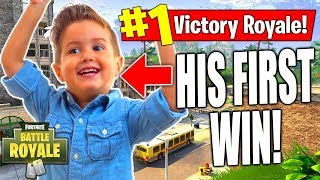 Helping ADDORABLE KID Get His FIRST WIN on Fortnite! | Fortnite Battle Royale