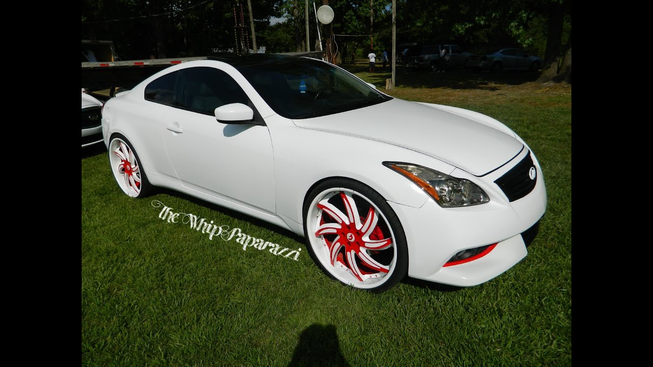 White Infiniti Coupe On Red And Forgiato Wheels North Ms Whipz Car Show