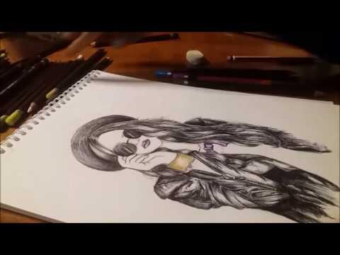 HIPSTER GIRL PEN DRAWING
