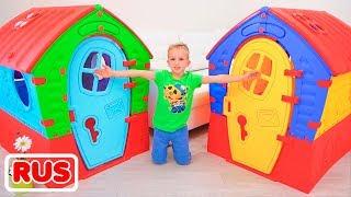 Влад и Никита строят домики для детей