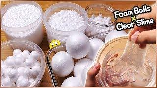 가장 완벽한 크기는? 폼볼 크기별로 슬라임 만들기 [1mm ~ ?mm] Foam balls X Clear slime