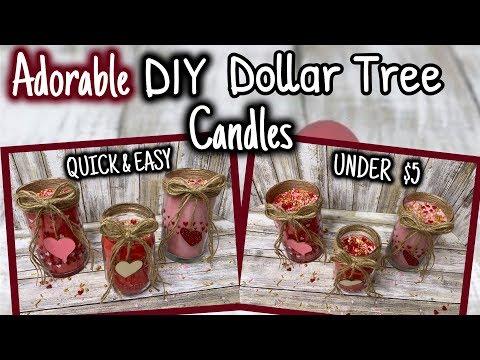 ADORABLE DIY Dollar Tree CANDLES   QUICK & EASY UNDER $5
