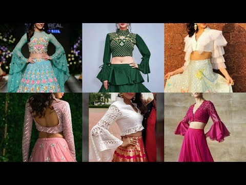 Stunning Long Sleeve Crop Top Blouse Designs Party Wear Long Sleeve Crop Top Lehenga Blouse Ideas Youtube
