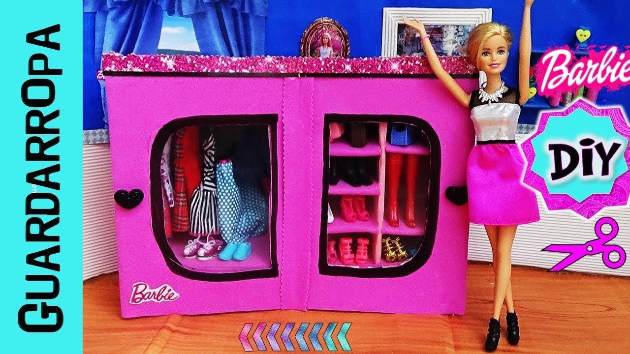 Diy como hacer guardarropa closet para mu ecas barbie - Como hacer un armario de carton ...