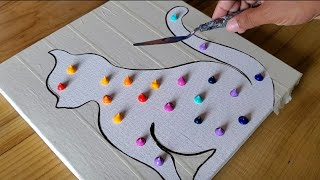 Cat / Easy Abstract Painting Demo Using Masking Tape / Satisfying / Project 100 Days / Day #51