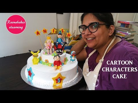 Cartoon Characters Cake: Free Cake decorating tutorial