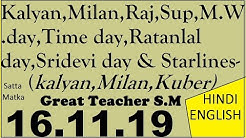 Satta Matka Kalyan 16.11.19 Milan,Raj & Other S.M.Day Bazaar Guide  By Great Teacher S.M