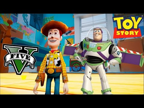 BUZZ Y WODDY EN TOY STORY Y EN LA CASA DE ANDY | GTA 5 NUEVO MAPA GTA V MODS PC