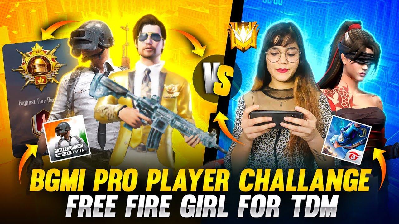 BGMI Conqueror Pro Player Challenge Free Fire Girl For TDM | Garena Free Fire | BGMI | Bindass Laila