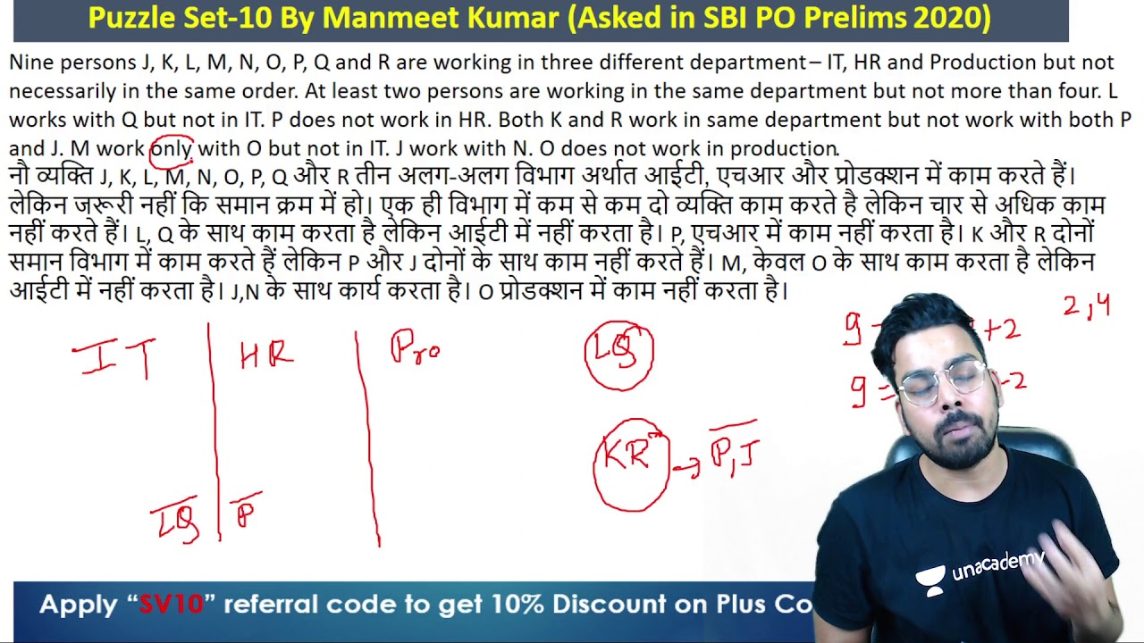 Puzzle-10/100 Category Puzles asked in SBI PO Prelims 2020 | Manmeet Kumar