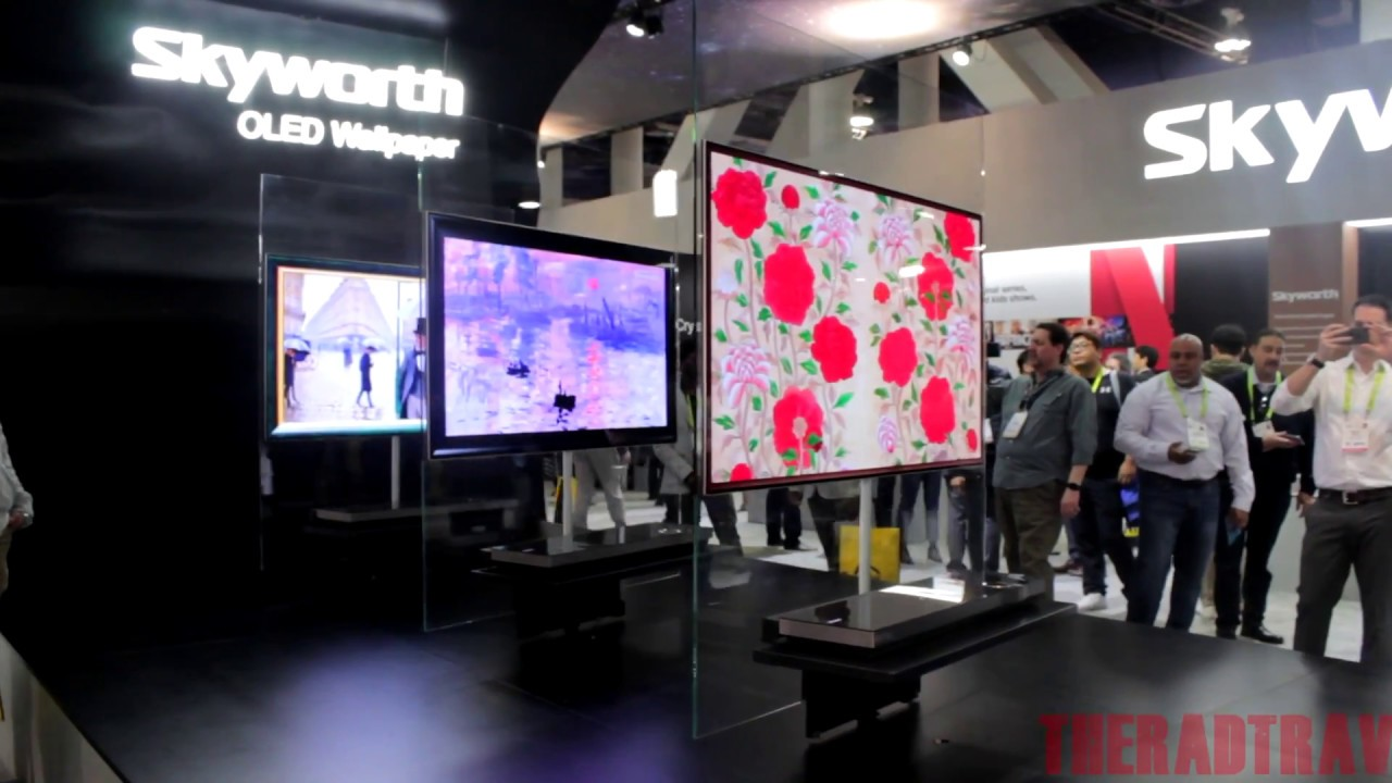 SKYWORTH OLED WALLPAPER TV AT CES 2018 - YouTube