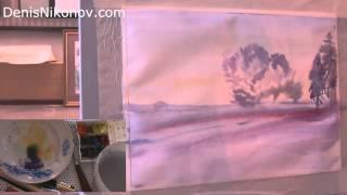 Зимний пейзаж акварелью. Урок по живописи. С палитрой