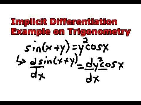 Implicit Differentiation Example On Trigonometry Youtube