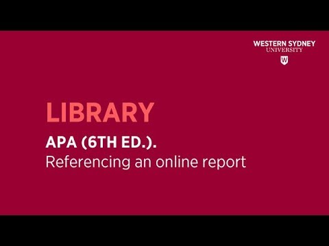 apa 6th ed referencing an online report youtube