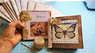 How To Make A MINI JUNK JOURNAL with FREE FLOATING SPINE! :) The Paper Outpost! :)